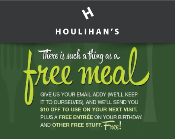Get $10 off When You Sign Up For Houlihan's Newsletter