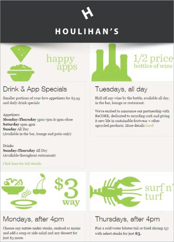 Weekly Specials at Houlihan's
