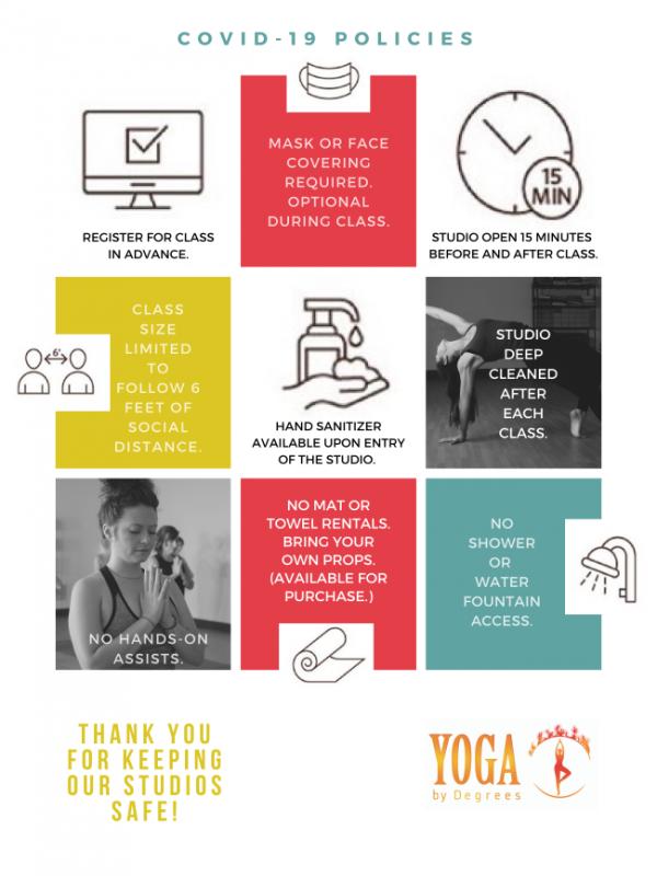 Yoga by Degree precautions at studio